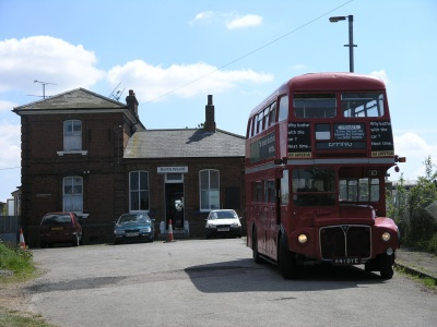 North Weald station, with Routemaster bus